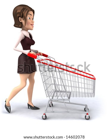 Girl with a shopping cart