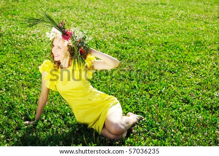 Girl with a wreath made from flowers