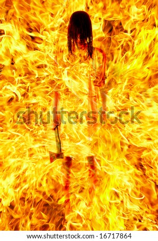 girl with an axe in a fiery flame...