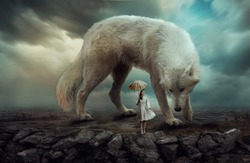 Girl with an umbrella stands on a rock with a huge wolf against a dramatic sky