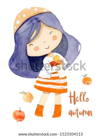 Girl with apples. Autumn theme.