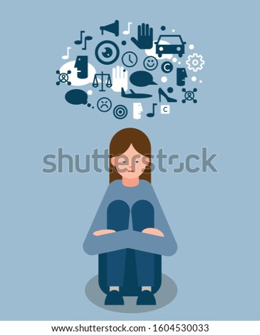 Girl with autism spectrum disorder with icon cloud above her head representing sensory perception and difficulty in understanding