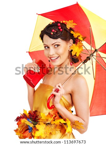 Girl with autumn hairstyle and umbrella. Fashion glamour.