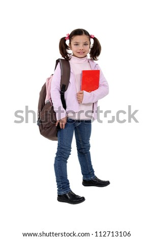 Girl with backpack and folder