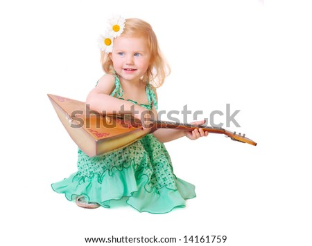 girl with balalaika  isolated on white