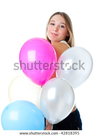 Girl with balloons. Isolated on white background #42818395