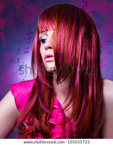 girl with beautiful colored red hair and flashy make-up