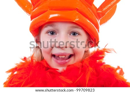Girl with big blown up orange crown for Dutch soccer game or Queens day in closeup over white background - stock photo