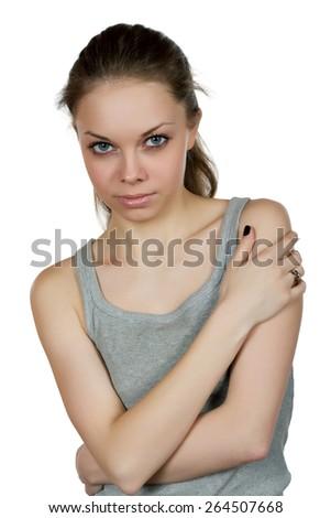 girl with big eyes isolated on white background Stock fotó ©