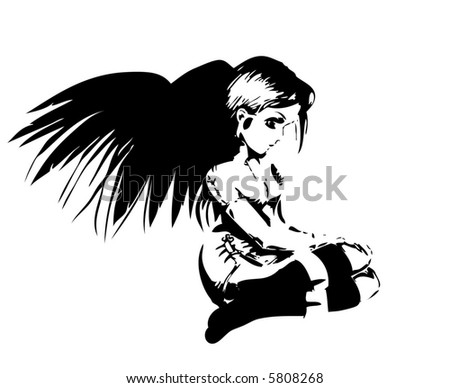 Girl with black wings, sitting on her knees, probably an angel.
