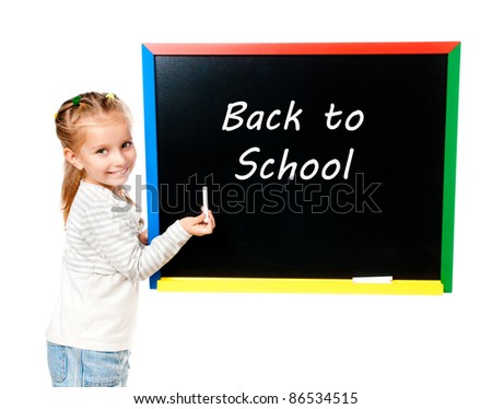 girl with blackboard isolated with back to school