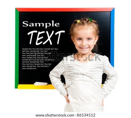 girl with blackboard isolated with sample text