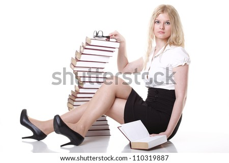 girl with book - Beautiful young woman with books isolated on a white background