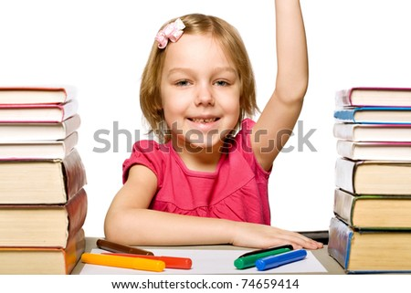 girl with book. isolated on white background