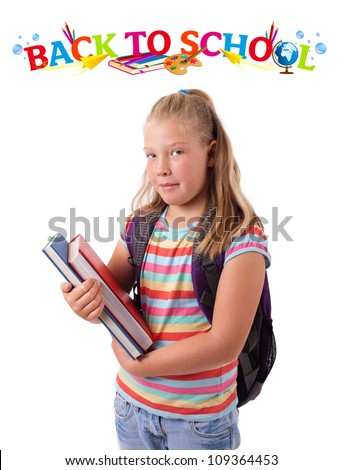 Girl with books and back to school theme
