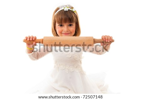 Girl with bride cloth holding a roll dough