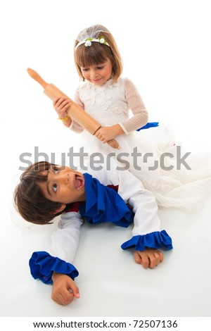 Girl with bride cloth holding a roll dough and a concerned boy