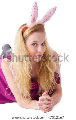 Girl with bunny ears. Isolated on white background