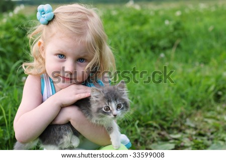 girl with cat  outdoor