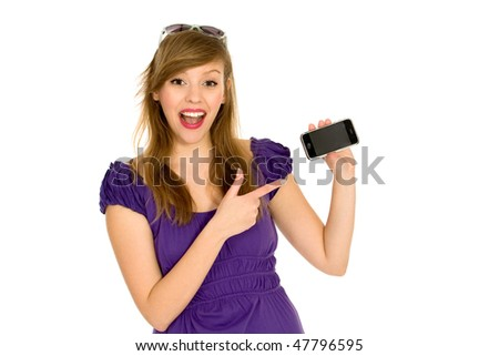 Girl with cell phone - stock photo