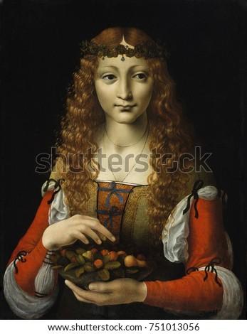 GIRL WITH CHERRIES, by Ambrogio de Predis, 1491_95, Italian Renaissance painting, oil on wood. The artist Ambrogio de Predis, was an associate of Leonardo da Vinci. It echoes Leonardos style in the so