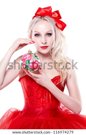 girl with christmas balls. On white background