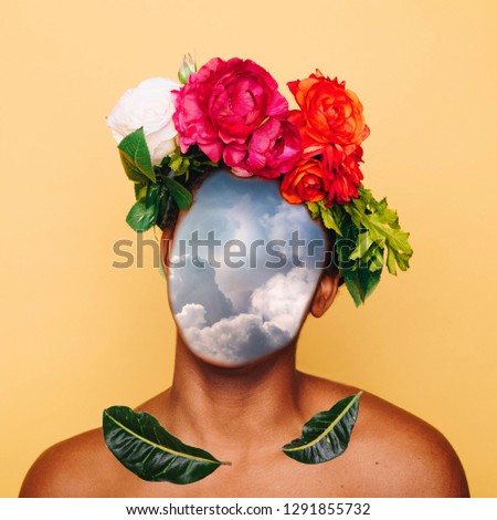 Girl with clouds instead of a face and a crown of flowers. Contemporary art collage. Abstract surrealism and minimalism #1291855732
