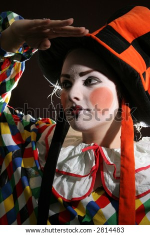 clowning makeup. clown makeup in fancy heat
