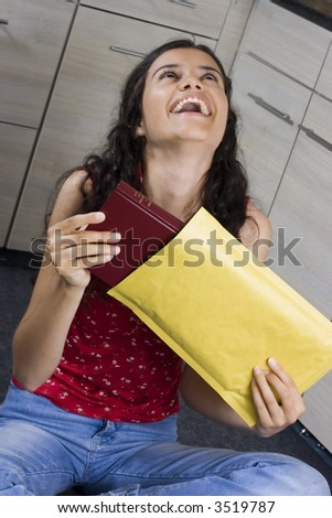 girl with envelope in her hands