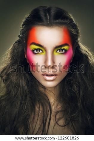 girl with eye shadows on face