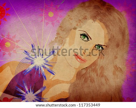 Girl with flowers on grunge background