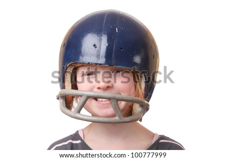 Girl with football helmet on white background