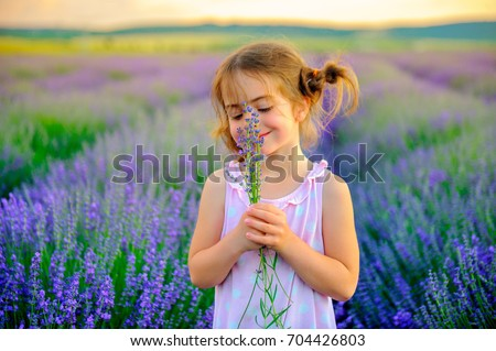 Girl with funny braids collects bouquet in lavender field, holding and smell the lavender flowers