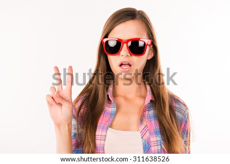 girl with funny glasses - Shutterstock ID 311638526