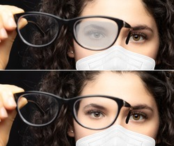 Girl with glasses fogged up because of the mask. View before and after using an anti-fog product