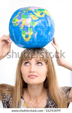 Girl with globe on the head