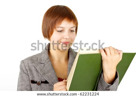 girl with green book