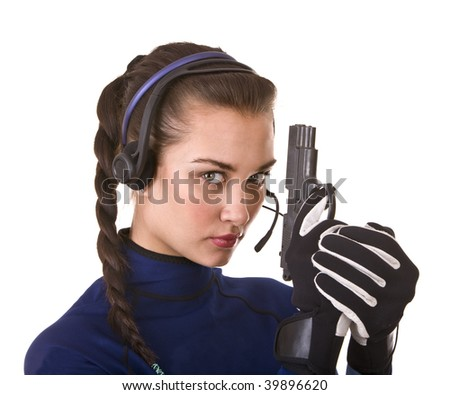 Girl with gun support customer. Concept.