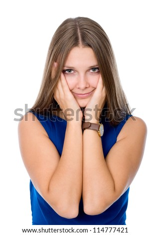 Girl with hands against cheeks against white background