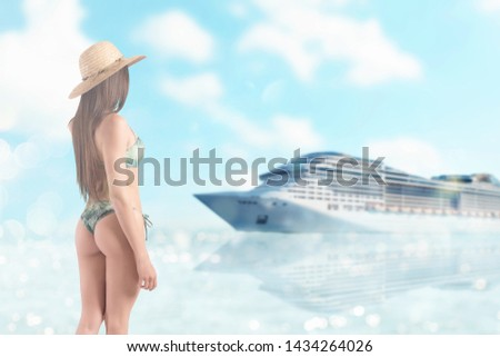 Girl with hat at the beach with a bright sea with cruiseship on background