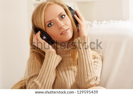 girl with headphone listening music