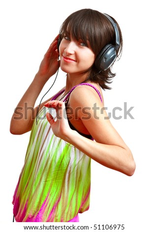 girl with headphones on - listening and dancing