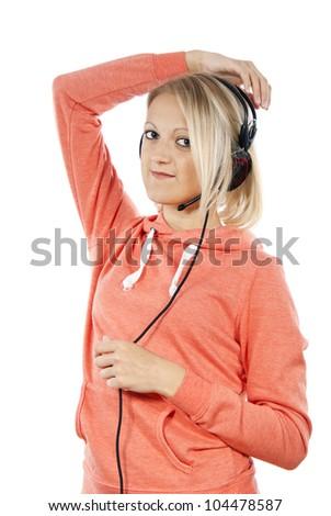 girl with headphones posing isolated