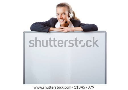 Girl with headset and blank board