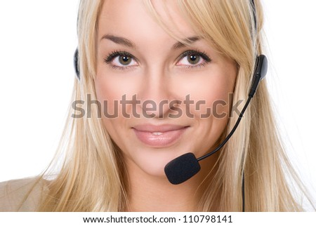 Girl with Headset.Isolated over white background