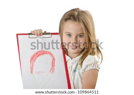 Girl with her drawing on white