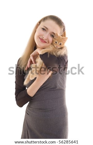 girl with kitten isolated on white background