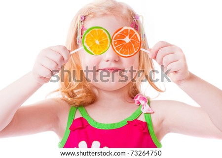 girl with lollipop isolated on white