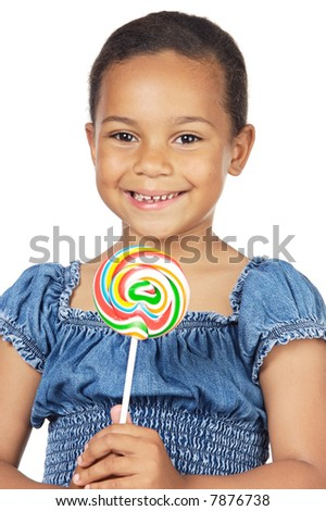 girl with lollipop isolated on white background