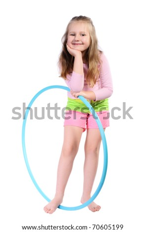 Girl with long blond hair, with  hula hoop, isolated on a white background. - stock photo